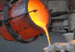 molten metal being poured